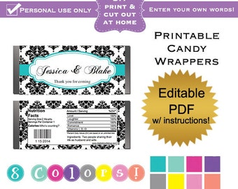 DIY editable printable candy wrappers (No.9b) damask wedding favors or baby shower bridal shower graduation PDF Digital File