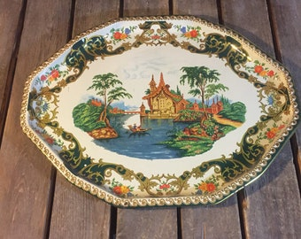 Vintage Asian Themed Serving Tray