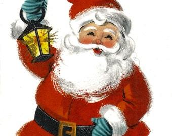 Vintage retro Santa Claus Christmas card lantern digital download printable instant image