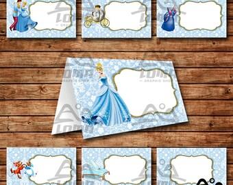 Cinderella Birthday Tent Card, Cinderella Birthday, Disney Princess Tent Card, Disney Food Label, Cinderella, Prince Charming, Tent Card