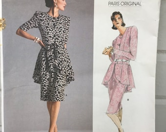vintage Vogue 1892 pattern UNCUT Givenchy Paris Original size 10 bust 32.5 waist 25 hip 34.5 misses dress 1987, 80s fashion