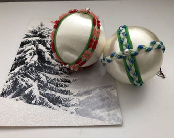 Vintage Handmade Christmas Ornaments Set of 2 1970's Red and White, Blue and Green