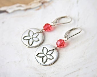 Plumeria Earrings sterling tropical pink crystal handmade in recycled fine silver frangipani blossom flower beach vacation jewelry