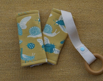 Teal Bugs Organic Baby Carrier Teething Pads. Drool Pads. Baby Wearing. Protective Pads. Teething Pads. Ergo. Boba. Beco. Lillebaby.