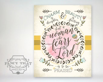 """8x10 art print - Proverbs 31 - Typography - Scripture Bible Verse / Mother's Day gift """"A woman who fears the Lord is to be praised"""""""