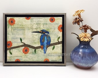Framed, Bird Artwork, Original, Mixed Media Collage, Nature Lover Gift, Kingfisher, Wall Art, 8 x 10