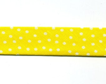 Yellow bias by the meter, small white polka dots, 100% cotton