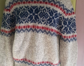 Vintage Nordic Shelter Mountain Wool Ski Pullover Sweater Size L