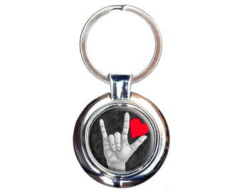 I Love You Sign Language Keychain Key Ring