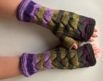 Multicolor ( green, purple, burgundy ) fingerless gloves, wrist warmers, fingerless mittens. Handmade, knitted of PURE wool.