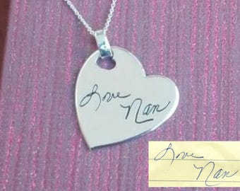 """1"""" Handwriting Heart Necklace. Your actual loved ones signature or handwriting. Fine Silver"""