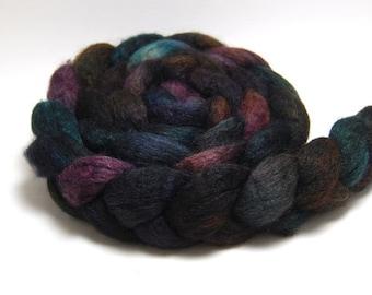 Handpainted Mixed BFL Silk Wool Roving - Holocene - 4 oz Brown Burgundy Navy Green