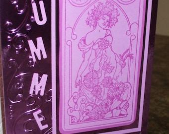 Midsummer Card Goddess Summer Solstice Greetings Alphonse Mucha Art Nouveau