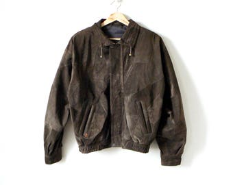 80s Suede Patchwork Leather Jacket - Vintage Zerimar Suede Jacket - 80s Jacket - Patchwork Suede Leather - Women's L