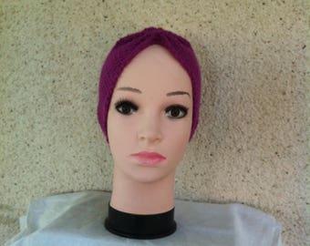 Dark purple, hand-knitted headband