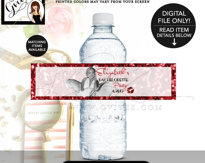 "Bachelorette Party Water Bottle Labels, Marilyn Monroe Red Glitter & White, Printable Party Stickers, Favors Gifts  8x2""/5 Per Sheet."