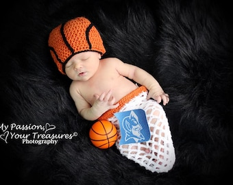 Newborn Basketball Photography Set Hat and Net Swaddle Orange White Sports Prop