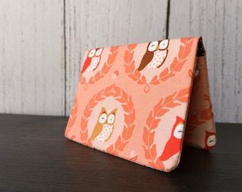 Card Wallet - Peach Owls