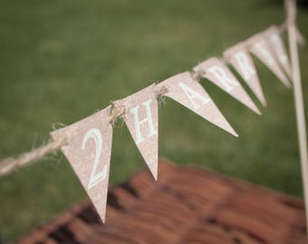 Personalised Rustic Themed Cake Bunting Topper