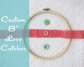 CUSTOM COLOR Love Catcher, Shabby Chic Lace Heart Dream Catcher, Choose Your Own Color, Large