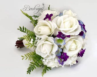 CHOOSE RIBBON COLOR - White Rose Bouquet, Purple Bellflower, Purple Flower, Bridal Bouquet, Real Touch Bouquet, Wedding, Baby's Breath, Fern