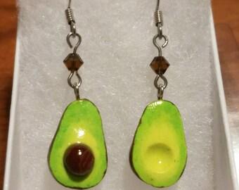Avocado Earrings, Garden Jewelry, Green Earrings, Miniature Food, Fruit Earrings