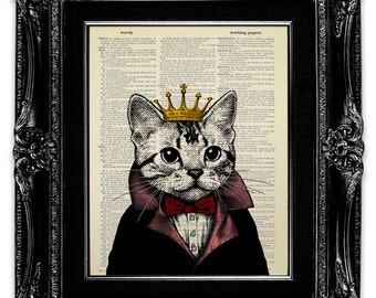 Tabby CAT Print, Cat OFFICE Print, Cat Wall Art, Cat Lover Gift, Funny Office Gift, Unusual Gift, QUIRKY Gift, Cat Drawing, Cat Crown Print