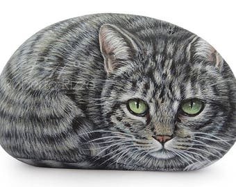 Irresistible Tabby Cat Miniature Handpainted on A Sea Pebble | Cat Painting on a Stone | Unique Rock Art by Roberto Rizzo