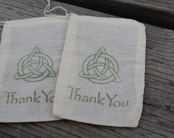 Set Of 20 Hand Stamped Celtic Knot Thank You Wedding Organic Party Favor Muslin Bags
