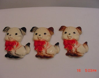 3 Vintage  Chalk Wall Hanging Puppy Dogs   16 - 52