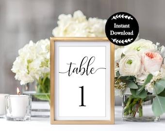 Printable Table Numbers, Wedding Table Numbers, Simple, Elegant, Cursive, Black and White, Wedding Printables, Wedding Decorations, SWCS1