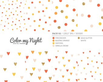 80% OFF SALE Digital Paper Orange 'Pack02' Gold Glitter & Orange Confetti Backgrounds for Scrapbook, Party Invitations, Crafts...