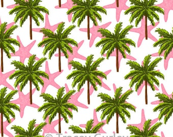 Palm Tree and Pink Starfish Pattern Repeat on White - Original Art download, palm tree printable paper, palm tree digital paper