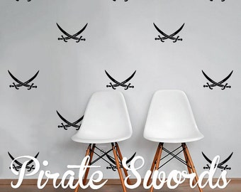 Crossed Pirate Swords Wall Decal Pack - Calico Jack - Jolly Roger, Modern Geometric Pattern Vinyl Wall Stickers WAL-2224