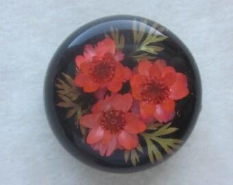 Embedded Flowers Polyester Button.   OneWomanRepurposed B 544
