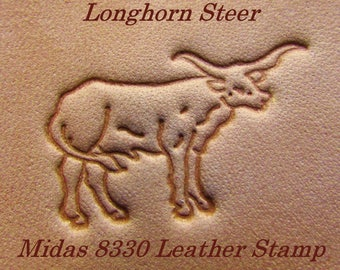 Discontinued Midas 8330 Longhorn Steer.  1'' Leather Stamp Tool