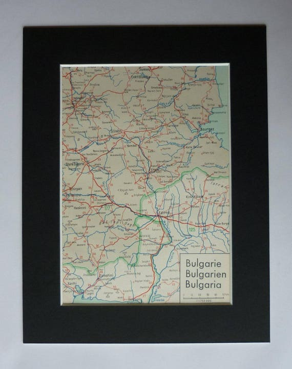 1930s Antique Bulgarian Map of Sliven Bulgaria Decor