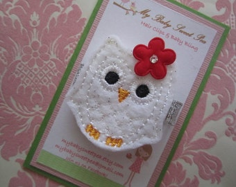 Girl hair clips - Christmas hair clips - girl barrettes - owl hair clips