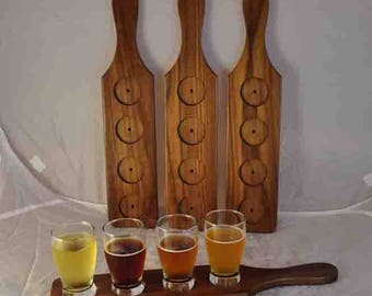 Beer or Wine Flight Tasting Paddles - WALNUT