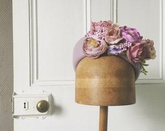 Pink floral pillbox hat, wedding hat, vintage style fascinator, flowers