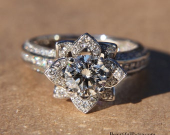 ready . to . ship . Platinum - Gorgeous UNIQUE Flower Rose Diamond Engagement Ring - 2.05 carat - custom made - art deco - fL01