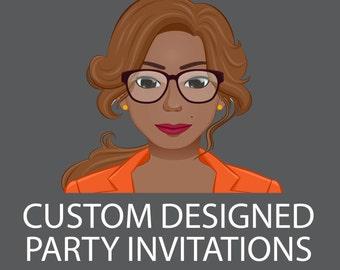 Custom Party Invitations-Anniversary, Birthday, Baby Shower, Bridal Showers or Wedding Invitation-Digital or Print