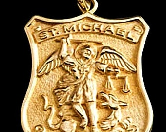 St michael medal 14k gold archangel michael patron saint of saint michael medal 14k gold archangel patron saint of police officers aloadofball Choice Image