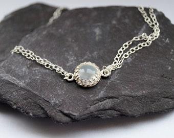Moonstone Crown Sterling Silver Chain Bracelet ~ simple, modern, stacking, wedding, bridesmaids, gemstone, chain, bracelet