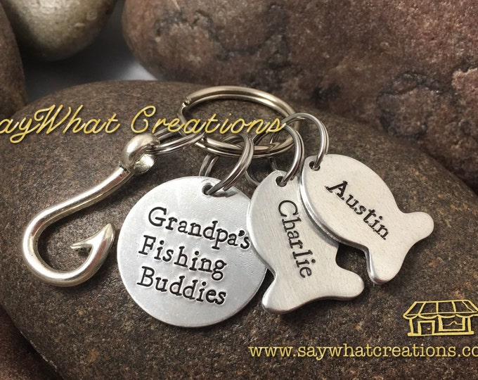 Grandpa's Fishing Buddies Key Chain Father's Day idea Best Catch