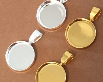 100 TINY 16mm Bezels Pendants Circles Round Trays Shiny Silver Plated Jewelry Supplies Charms Small Deep