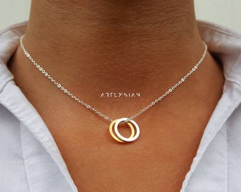 2 circles necklace, Karma necklace, Gold and silver tone, eternity necklace, Tiny circle necklace, two circles jewelry-circle necklace small