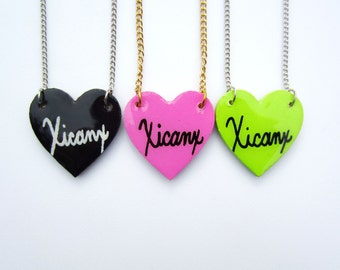 On Sale! Xicanx Heart Necklace (Choose: Heart Color & Chain Color)
