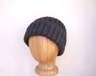Charcoal Gray Hat, Peruvian Wool, Hand Knit, Men & Teen Boys, Watch Cap, Ribbed Beanie Toque Stocking