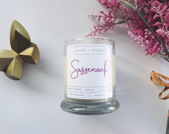 """Wicks + Words - """"Sassenach"""" - Outlander Inspired Natural Soy Candle"""